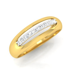 diamond studded gold jewellery - Adama Band Ring - Pristine Fire - 1