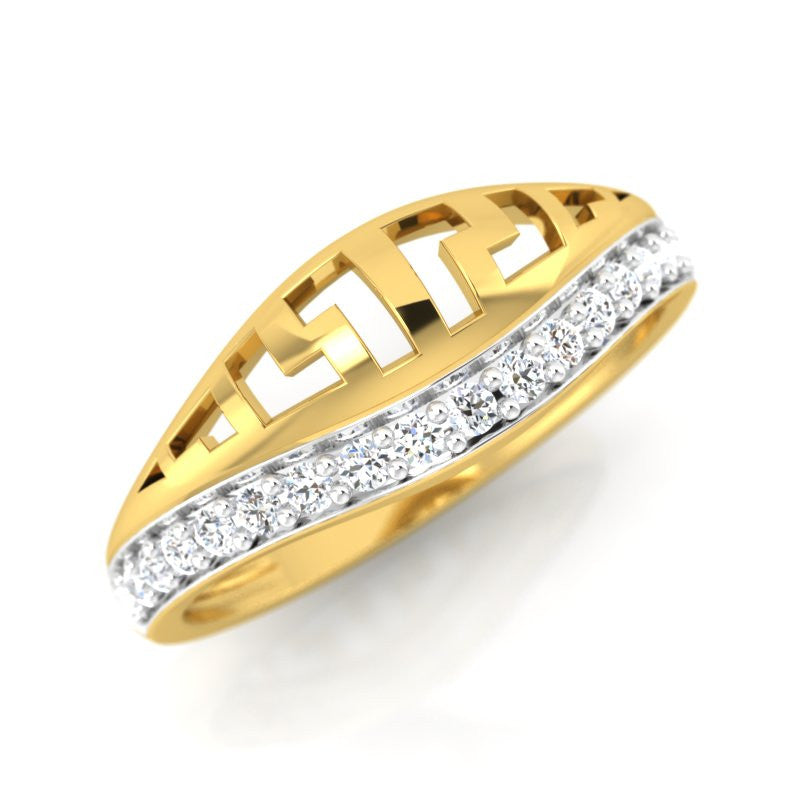diamond studded gold jewellery - Adara Band Ring - Pristine Fire - 1