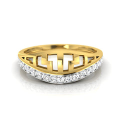 diamond studded gold jewellery - Adara Band Ring - Pristine Fire - 2