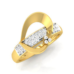 diamond studded gold jewellery - Adelaida Band Ring - Pristine Fire - 1
