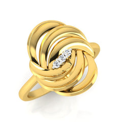 diamond studded gold jewellery - Adena Cocktail Ring - Pristine Fire - 1