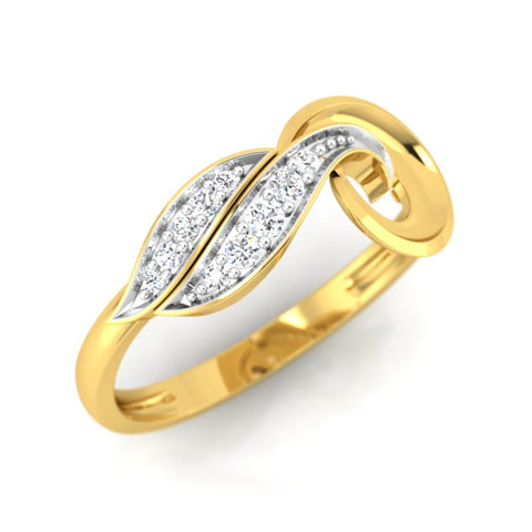 diamond studded gold jewellery - Tresha Casual Ring - Pristine Fire - 1