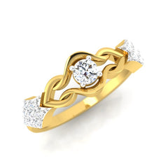 diamond studded gold jewellery - Triana Band Ring - Pristine Fire - 1