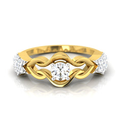 diamond studded gold jewellery - Triana Band Ring - Pristine Fire - 2