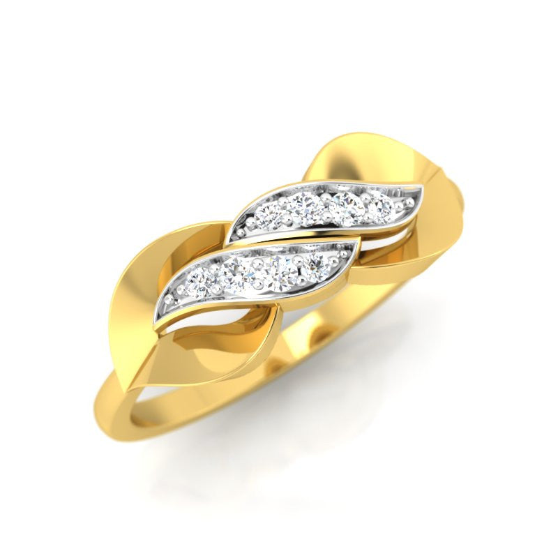 diamond studded gold jewellery - Trixie Casual Ring - Pristine Fire - 1