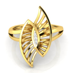 diamond studded gold jewellery - Tyfani Fashion Ring - Pristine Fire - 2