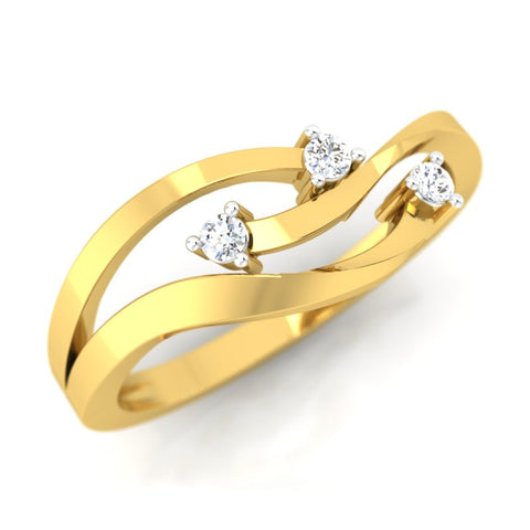diamond studded gold jewellery - Tynesha Casual Ring - Pristine Fire - 1