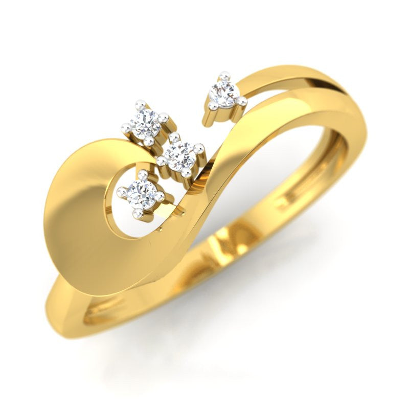 diamond studded gold jewellery - Ulalia Casual Ring - Pristine Fire - 1