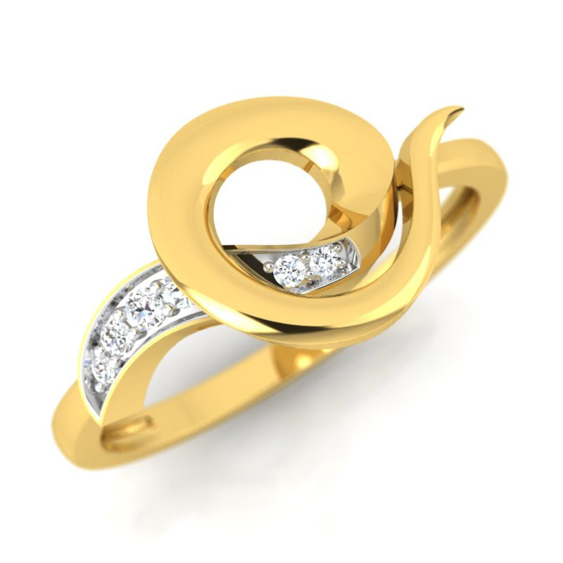 diamond studded gold jewellery - Ulima Casual Ring - Pristine Fire - 1
