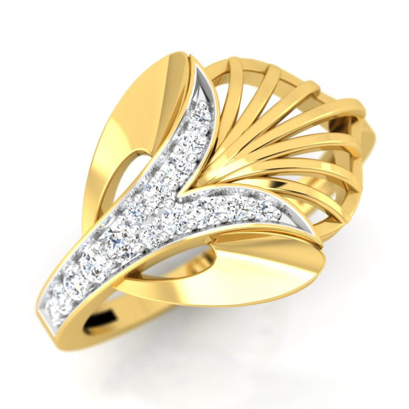 diamond studded gold jewellery - Ultima Fashion Ring - Pristine Fire - 1