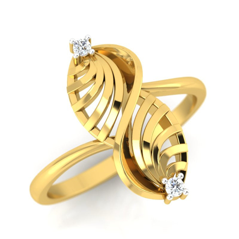 diamond studded gold jewellery - Umiko Fashion Ring - Pristine Fire - 1