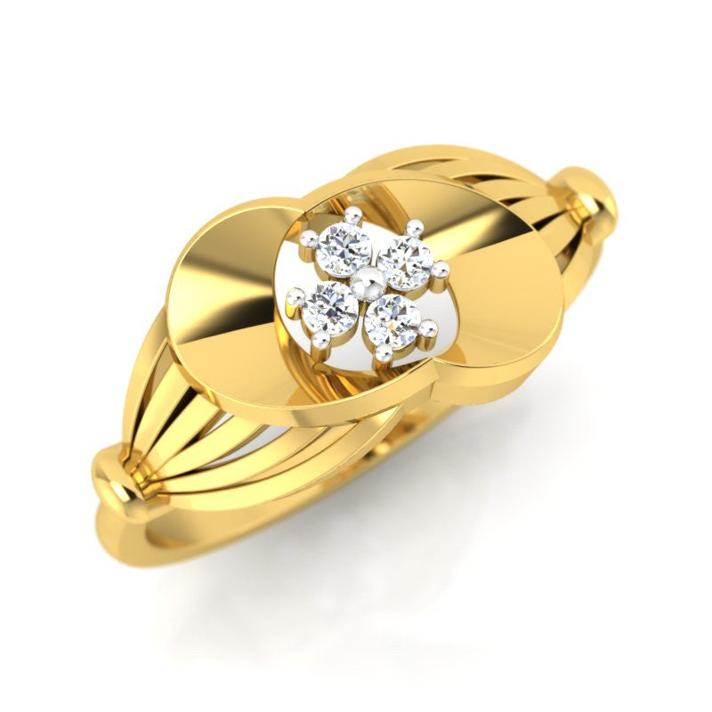 diamond studded gold jewellery - Uniqua Fashion Ring - Pristine Fire - 1