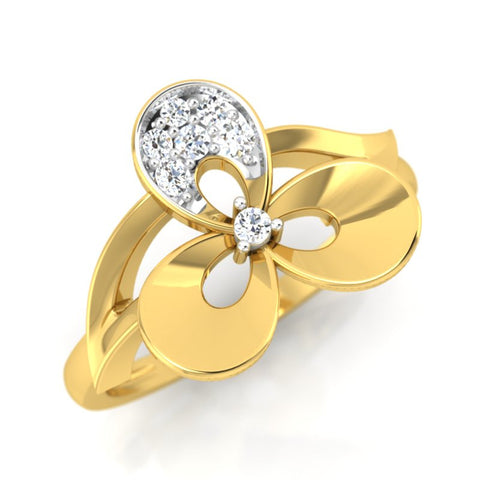 diamond studded gold jewellery - Uzza Casual Ring - Pristine Fire - 1