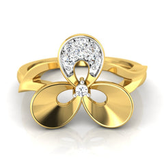 diamond studded gold jewellery - Uzza Casual Ring - Pristine Fire - 2