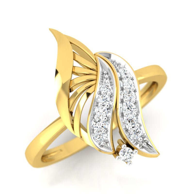 diamond studded gold jewellery - Wadd Casual Ring - Pristine Fire - 1