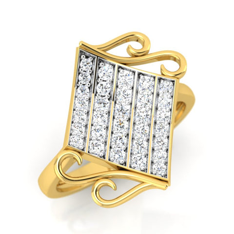 diamond studded gold jewellery - Wakeisha Casual Ring - Pristine Fire - 1