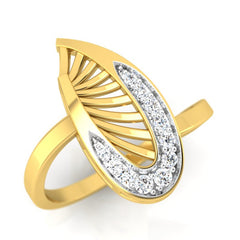 diamond studded gold jewellery - Waleria Fashion Ring - Pristine Fire - 1
