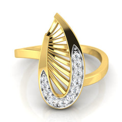 diamond studded gold jewellery - Waleria Fashion Ring - Pristine Fire - 2