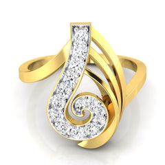 diamond studded gold jewellery - Wava Fashion Ring - Pristine Fire - 2