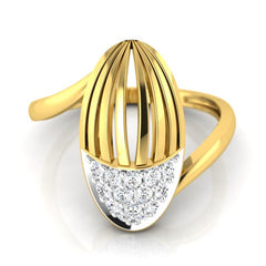 diamond studded gold jewellery - Waverly Fashion Ring - Pristine Fire - 2