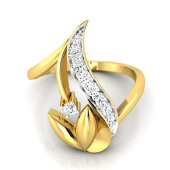 diamond studded gold jewellery - Waynette Fashion Ring - Pristine Fire - 2