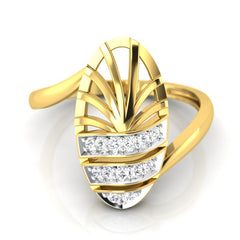 diamond studded gold jewellery - Wera Fashion Ring - Pristine Fire - 2