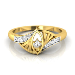 diamond studded gold jewellery - Whoopi Casual Ring - Pristine Fire - 2
