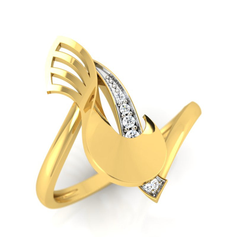 diamond studded gold jewellery - Wilda Fashion Ring - Pristine Fire - 1