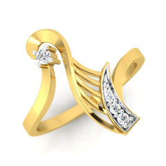 diamond studded gold jewellery - Wileen Fashion Ring - Pristine Fire - 1