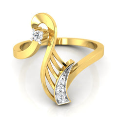 diamond studded gold jewellery - Wileen Fashion Ring - Pristine Fire - 2