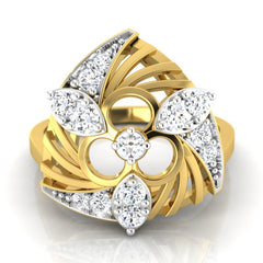 diamond studded gold jewellery - Wilona Fashion Ring - Pristine Fire - 2