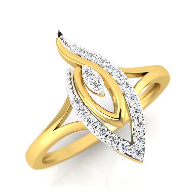 diamond studded gold jewellery - Winifred Fashion Ring - Pristine Fire - 1