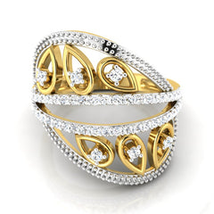 diamond studded gold jewellery - Winnie Fashion Ring - Pristine Fire - 2