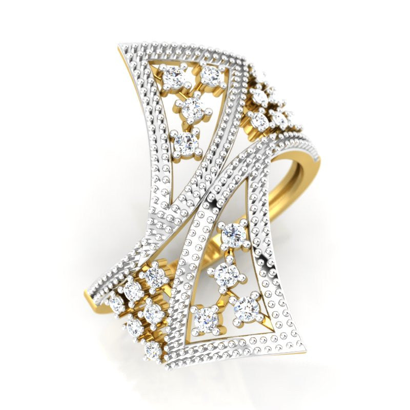 diamond studded gold jewellery - Winona Cocktail Ring - Pristine Fire - 1