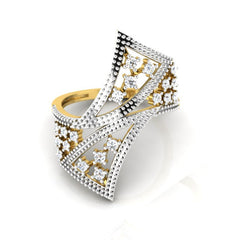 diamond studded gold jewellery - Winona Cocktail Ring - Pristine Fire - 2