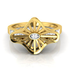 diamond studded gold jewellery - Wira Fashion Ring - Pristine Fire - 2