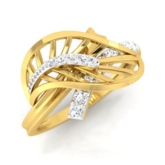 diamond studded gold jewellery - Xabrina Fashion Ring - Pristine Fire - 1