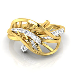 diamond studded gold jewellery - Xabrina Fashion Ring - Pristine Fire - 2