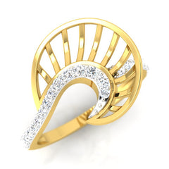 diamond studded gold jewellery - Xalina Fashion Ring - Pristine Fire - 1