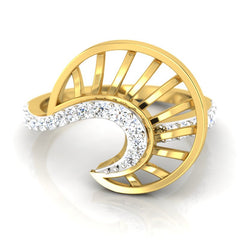 diamond studded gold jewellery - Xalina Fashion Ring - Pristine Fire - 2