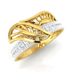 diamond studded gold jewellery - Xara Fashion Ring - Pristine Fire - 1