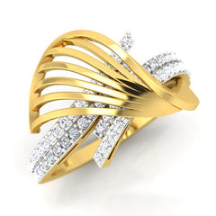 diamond studded gold jewellery - Yadira Fashion Ring - Pristine Fire - 1