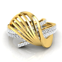diamond studded gold jewellery - Yadira Fashion Ring - Pristine Fire - 2