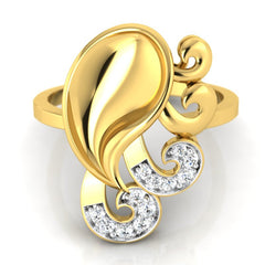 diamond studded gold jewellery - Yadra Fashion Ring - Pristine Fire - 2