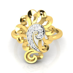 diamond studded gold jewellery - Yael Cocktail Ring - Pristine Fire - 2