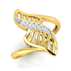 diamond studded gold jewellery - Yaffa Fashion Ring - Pristine Fire - 1