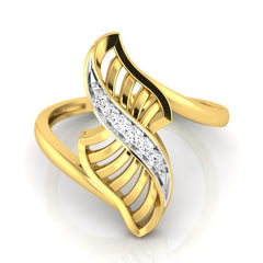 diamond studded gold jewellery - Yaffa Fashion Ring - Pristine Fire - 2