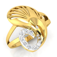 diamond studded gold jewellery - Yakira Cocktail Ring - Pristine Fire - 1