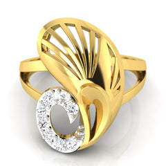 diamond studded gold jewellery - Yakira Cocktail Ring - Pristine Fire - 2
