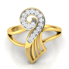 diamond studded gold jewellery - Yalanda Fashion Ring - Pristine Fire - 2
